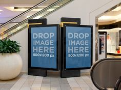 Billboard Mockup, Two Mall Billboards at an Escalator Placeit Stage Image
