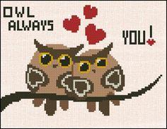 Counted Cross Stitch Pattern - Cross Stitch Pattern Owl Always Love You $5