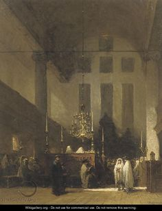 The Portuguese Synagogue, Amsterdam in the Esnoga - Johannes Bosboom