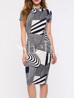 Vestido manga corta abstracto -blanco negro 14.54