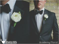 White and Gold Wedding boutonniere