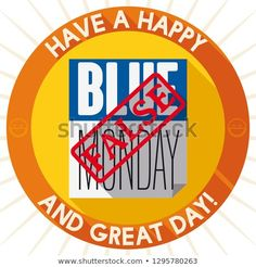 """Round button in flat style and long shadows with loose-leaf calendar with stamp of """"false"""" promoting demystify the idea about Blue Monday and to live it with happiness and enthusiasm. Round Button, Long Shadow, Flat Style, Burger King Logo, Fashion Flats, Shadows, Calendar, Happiness, Stamp"""