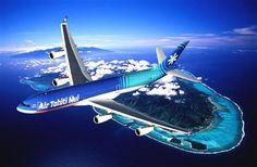 Cool pic of Air Tahiti Nui plane flying over islands