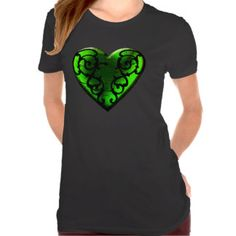 Goth St. Patrick's Day Green Heart T-shirts