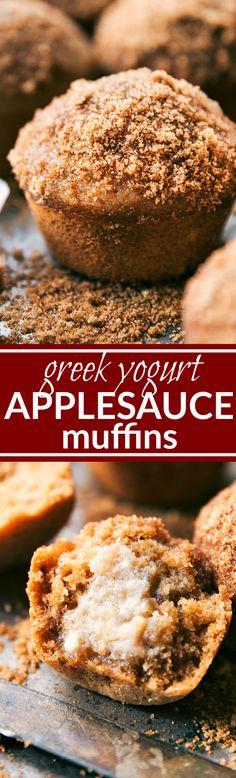 """Big, bakery-style, fluffy applesauce muffins made with healthier and more wholesome ingredients! Crunchy sugared-topping and moist interior. Delicious! Recipe via <a href=""""http://chelseasmessyapron.com"""" rel=""""nofollow"""" target=""""_blank"""">chelseasmessyapro...</a>"""