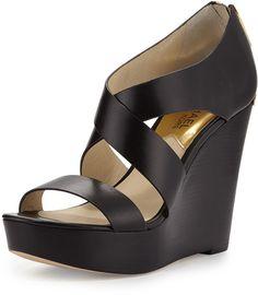 MICHAEL Michael Kors Elena Leather Wedge Sandal, Black