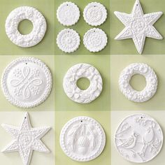 Clay Creation Ornaments-BHG  Simply press air-dry clay into Christmas cookie molds etc, trim and add holes for hanging then dry.