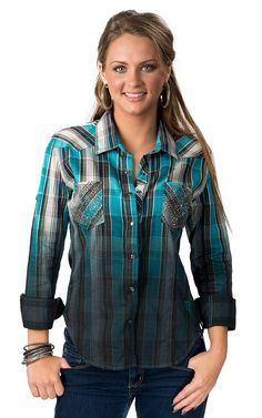 Cowgirl Hardware Women's Turquoise Long Sleeve Pearl Snap Western ...