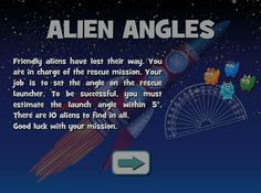 Alien Angles - Space aliens are lost. Geometry to the rescue. Geometry Games, Area And Perimeter, Space Aliens, Math Games, Angles, Product Launch, Challenges, Activities, Lost