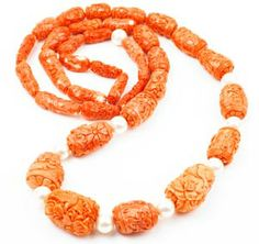 beautifully carved coral necklace