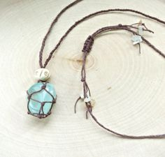 Too cute! I could so do this (: -- Fluorite Healing Crystal Necklace - Handmade Hemp Crystal Necklace by KatiesBasement