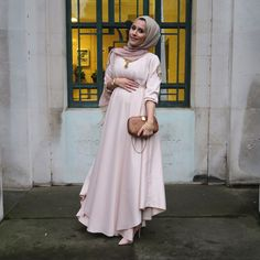 "Dressed up kaftan dress from ""asmachaptidadabhoy"" & 2 tone chiffon scarf from AAB via Dina Torkia"