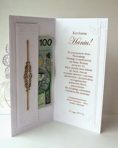 kartkulec: I Komunia Święta Money Cards, Diy Cards, First Communion Cards, Paper Quilling Cards, Chocolate Card, Money Envelopes, Tiny Gifts, Wedding Illustration, Gift Envelope