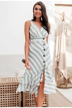 Summer Special | 2 Summer Wear For Women, Elegant Dresses For Women, Summer Stripes, Summer Special, Long Summer Dresses, Casual Blazer, Striped Linen, Elegant Outfit, Ruffle Dress