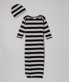 Look at this #zulilyfind! Black Stripe Jailhouse Rock Gown & Beanie - Infant by Mod' Swad #zulilyfinds
