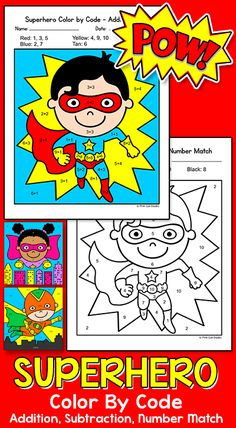 Practice addition, subtraction and number matching with these SUPER fun Superhero kids color by code math activity sheets. Great for Back to School or any time of year! The worksheets are perfect for math centers, morning work, early finishers, homework and whole class. By Pink Cat Studio