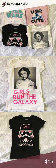 Star Wars Girls Leia, Stormtrooper, R2D2  Bundle Star Wars Girls Princess Leia, Stormtrooper, R2D2  4 Tee Bundle all purchased exclusively for Children Place. My daughter wore these a few time they are in pre owned condition. Please See all pics! ❌ Price is Firm❌ all Size 7/8 M children place sizing. Star Wars Shirts & Tops Tees - Short Sleeve