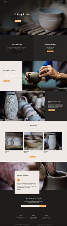 Pottery studio website landing page design divi