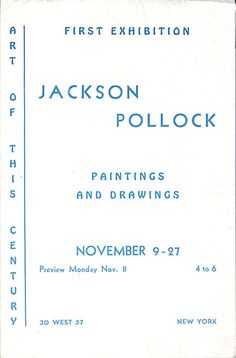 Citation: Jackson Pollock paintings and drawings, 1943 Nov. . Betty Parsons Gallery records and personal papers, Archives of American Art, Smithsonian Institution.
