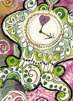 Artist Trading Card. Handdrawn illustration.