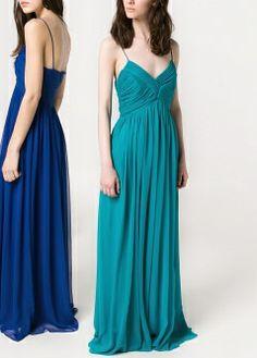 Pleated chiffon dress - Dresses - Women - MANGO
