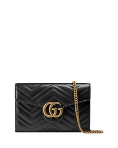 GG+Marmont+Matelassé+Mini+Bag,+Black+by+Gucci+at+Neiman+Marcus.