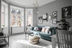 A calm grey Swedish space with a hint of blue