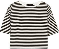 Tibi Ren Cropped Striped Cotton-Blend Jersey Top
