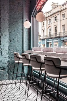 Home Decorating DIY Projects : Biasol focuses on simple and confident details at Greenwich Grind restaurant in London Coffee Shop Design, Cafe Design, Layout Design, Design Design, Design Ideas, Loft Interior, Restaurant Interior Design, Restaurant Interiors, Shop Interiors