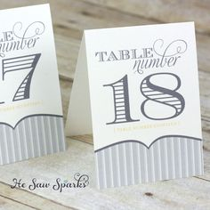 Printable Table Numbers Yellow and Gray Tent Style by HeSawSparks. $15.00, via Etsy.