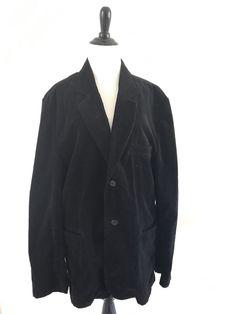 Positano Mens Corduroy Blazer Jacket Size XL Two Button Vneck Fitted Black #Positano #shopping