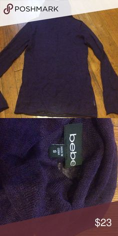 Bebe purple turtleneck sweater Fabric tag was cut out. This is nice and soft and this is sheer. Size small. bebe Sweaters Cowl & Turtlenecks