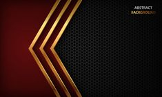 Dark abstract background with red arrow overlap layer and golden element. Gothic Background, Red Color Background, Luxury Background, Black Background Images, Geometric Background, Vector Background, Abstract Backgrounds, Black Backgrounds, Silver Makeup
