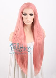 """18""""-39"""" Long Straight Light Pink Customizable Lace Front Synthetic Hair Wig LF238B"""