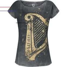 #emofashion - Offizieller & Lizenzierter Fanartikel Emp ExklusivGuinness Harfe T-Shirt für Damen in den Größen S, M, L, Xl, Xxl, 3xl, 4xl verfügbar.Details:Farbe: schwarz grauMuster: UniHauptmaterial: 100% BaumwollePassform: RegularÄrmelform: Überschnittene SchulterÄrmellänge: Kurzer ÄrmelAusschnitt: U-BootKragenform: Kragenlos... Guinness, Mode Statements, Nike Blazer, Latex Fashion, Fashion Goth, Workout Tops, Shirts For Girls, Black And Grey, Vintage Fashion
