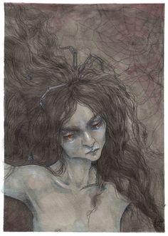 Spider - liselotte eriksson Spider Art, Black Widow, Weave, Mermaid, Fantasy, Artwork, Painting, Work Of Art, Auguste Rodin Artwork