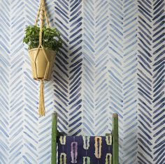 Wallpaper for a feature wall. Herringbone - Cobalt