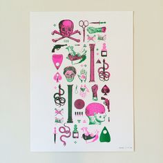 2 Colour Risograph print in green and fluorescent pink.A3 sized (29.7 x 42cm)Cyclus offset 170gsm paper.Limited run of 33.Signed and numbered.More photos on www.jakeb.orgWill ship Internationally for same cost.