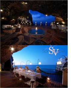 Spectacular cave: wedding venue with breathtaking views of the sea. Looking for a special venue for your wedding in Puglia? Email us at info@sposiamovi.it