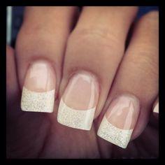 White Glitter-Tipped Nails