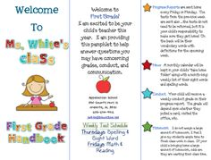 First Grade Blue Skies: Class Brochure. Can change to the grade you teach! Back To School Night, 1st Day Of School, Beginning Of The School Year, Too Cool For School, School Fun, School Ideas, School Stuff, School Craft, Class Tree