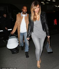 Casual night out: The famous couple both dressed down in jeans but Kim Kardashian was sure to wear her heels alongside Kanye West Trendy Outfits, Cool Outfits, Fashion Outfits, Womens Fashion, Kim Kardashian, Kardashian Workout, Kardashian Fashion, Kardashian Family, Kanye West And Kim