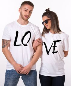 LOVE Couples Shirts, Matching Couples Shirts. Show your LOVE to the world and stay trendy with this set of matching shirts! Get yours now!