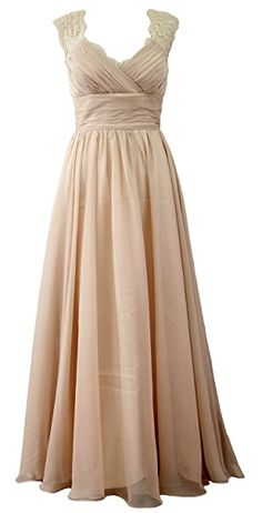 MACloth Women Vintage Long Bridesmaid Dress V Neck Lace Formal Evening Gown at Amazon Women's Clothing store: