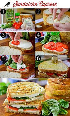 sanduiche caprese, receita fácil, sanduíche tomate e mussarela, manjericão. we share ideas, receita festas