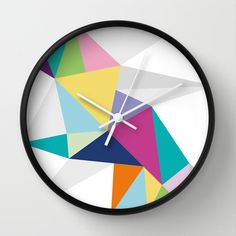 Triangle Brights Wall Clock by Sarah Sanderson Design