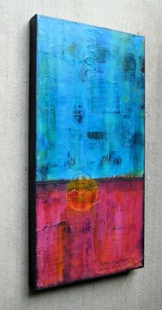 Right now Iam loving colorful abstract paintings, especially ones that have a grungy look.I just completed thispainting on a 12 x 24 inch canvas.. This one has somecollaged papersunder all t...
