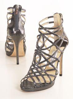 Jimmy Choo Silver Metallic Caged Heels
