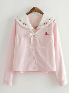 Navy collar pink strawberry embroidery jacket, just like a Japanese school girl. Size: One free size (Asian Small to medium) Measures: shoulders 40 cm, bust 102 cm, sleeves 58 cm, length 55 cm Pastel Fashion, Kawaii Fashion, Cute Fashion, Fashion Outfits, School Outfits Tumblr, Cute Outfits With Leggings, Really Cute Outfits, Fall Jackets, Kawaii Clothes