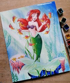 Original Watercolour Disney Ariel and Seahorses 😁 I'm actually really pleased with how this turned out! There's some gold detailing too! Swipe for close ups. Original painting and prints listed in my Etsy, link in bio 💖 . Disney Magic, Disney Art, Watercolor Disney, Disney Animated Movies, Disney Addict, Disney Animation, Art Day, Insta Art, Cool Art